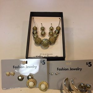 Jewelry - Necklace & Earring Set with Two Sets of 3 Earrings